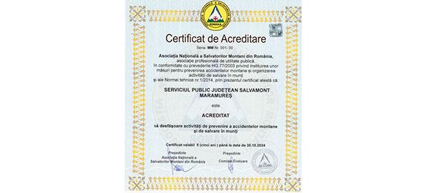 Serviciul Public Județean Salvamont Maramureș, acrediat să desfășoare activități de prevenire a accidentelor montane și de salvare în munți