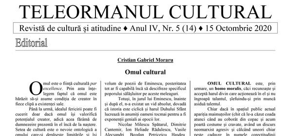 """Cultură și atitudine  în Revista """"Teleormanul Cultural"""", Nr. 5 (14) / 15 Octombrie, 2020"""
